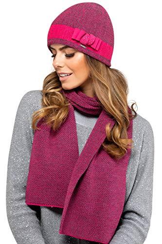 Kamea - Winterset Katalonia - Mütze mit passendem Schal - verschiedene Farbauswahl - 2 Teilig, Winter Set:Pink