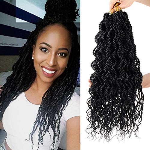 8 Packs Wavy senegalese twist crochet hair 18 inch crochet braids senegalese twist Synthetic Braiding Hair Extension