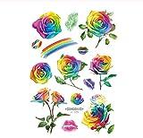 HYTGF Tatuaje Temporal Etiqueta engomada Rainbow Tattoo Stickers Shimmer Flowers Taty Colorful Butterfly Tattoo Pegatinas de Tatuaje Temporal para el Cuerpo W
