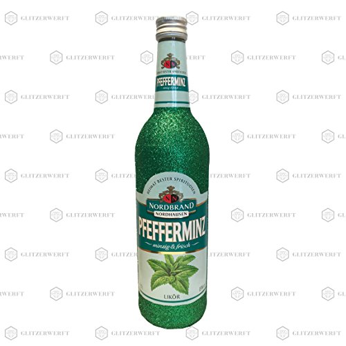 Glitzer Pfeffi 700ml (18% Vol) - Bling Glitzerflasche grün