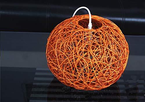 LLT Chandelier Útil Lámpallas Personalizadas Simple Rattan Ball Dormitorio Terraza Terraza Pastoral Windows Tienda de Ropa Creativa Colgante Lámpara,Naranja,Medio
