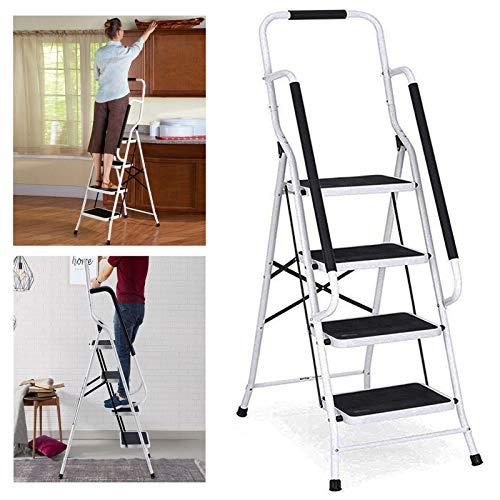Trittleiter 4 Stufen Klappbar mit handlauf und Rutschfester Stufen, Klapptritt Klappleiter Klapptreppe Stehleiter Haushaltsleiter Leiter Leiter, Ideal für Zuhause/Küche/Garage, belastbar bis 150 kg