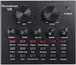 SuperPower V8 Multi-functional Live Sound Card USB Audio Interface Intelligent Volume Adjustable Audio Mixer Sound Card fo...