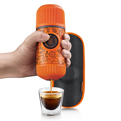 Wacaco Nanopresso Portable Espresso Maker bundled with Protective Case, Orange Tattoo Patrol Edition, 18 Bar Pressure, Extra Small Travel Coffee Maker, Manually Operated Perfect for Kitchen and Office