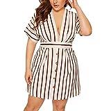 Damen Kleider Sommer V-Ausschnitt Kurzarm Weste Sexy Kleider Damen Strandkleid Streifen Lose Baumwolle Nähte Kleid Tiefer V-Ausschnitt Knopf durch Minikleid (EU:44, Weiß)