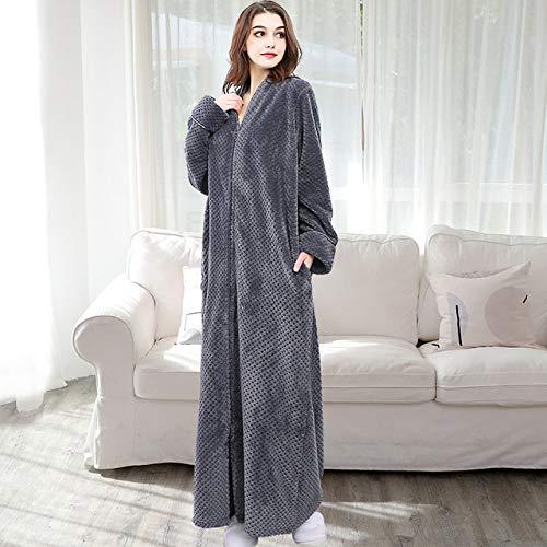 YRTHOR Men Plus Size Long Thermal Bathrobe, Thick Flannel Warm Kimono Bath Robe Mens Winter Dressing Gown Women Male Long Sleeve Robes,Grey Women,L