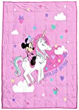 Jay Franco Minnie Mouse Unicorn Dreams Weighted Blanket 5 lbs - Measures 36 x 48 Inches, Kids Bedding - Fade Resistant Super Soft Velboa (Official Disney Product)