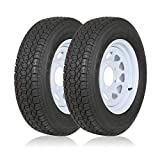 Weize ST175/80D13 Trailer Tires With 13' White Wheel - 5 on 4-1/2 - Load Range C, 6PLY, Set Of 2
