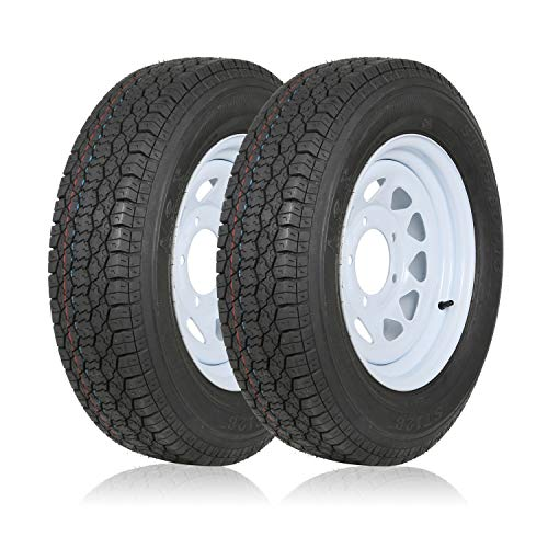 "Weize ST175/80D13 Trailer Tires With 13"" White Wheel - 5 on 4-1/2 - Load Range C, 6PLY, Set Of 2"
