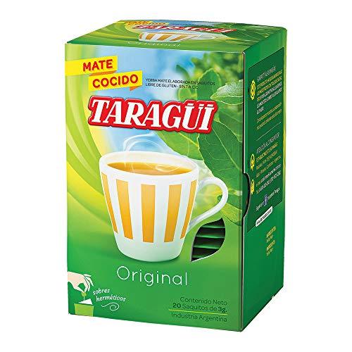 Yerba Mate Taragui en saquitos 20 unidades. Esta infusion de yerba mate es una fuente natural de energia que estimula el esfuerzo intelectual y fisico.