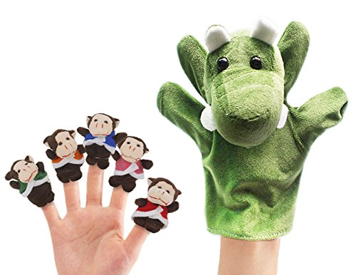RIY Storytime Animal Finger Puppets Set - 6 Piece Five Little Monkeys Setting in a Tree Educational Toys