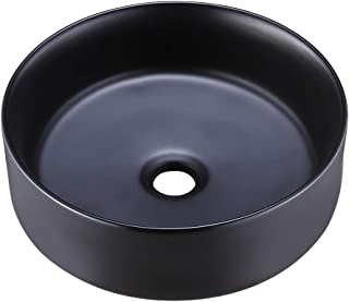 KES Bathroom Vessel Sink 16 Inch Round Above Counter Circle Matte Black Ceramic Countertop Sink for Cabinet Lavatory Vanity, BVS121-BK