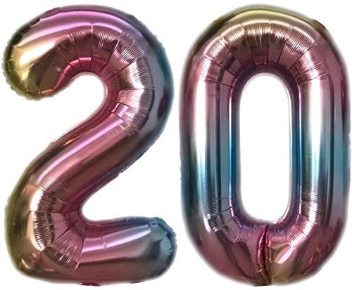 TopTen Folienballon Zahl 20 Bunt XL ca. 72 cm hoch - Zahlenballon / Luftballon für Geburstagsparty, Jubiläum oder sonstige feierliche Anlässe (Nummer 20)