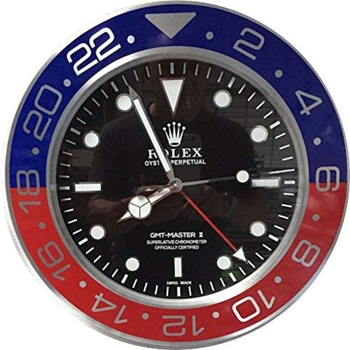 Replica Rolex 35 mm Wall GMT II Master Pepsi Metal Silent Movement + Free 2  cd audio
