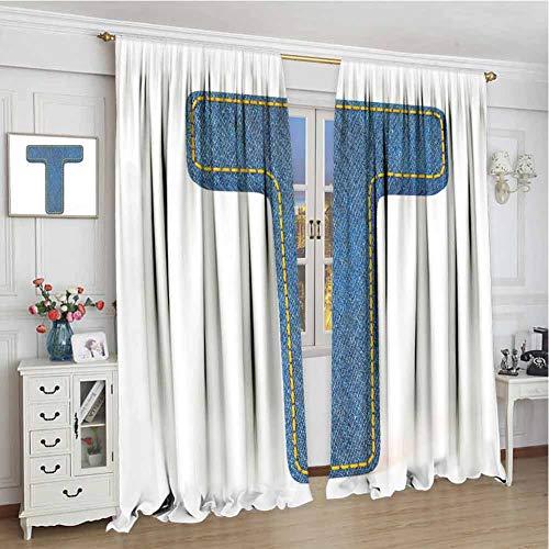 gordijnen voor meisjes kamer W72 x L96 Inch,Room Darkening Drapes,Letter T,Alfabet Design met Denim Texture Element Blue Jeans Stitches Illustratie Print,Blauw Geel