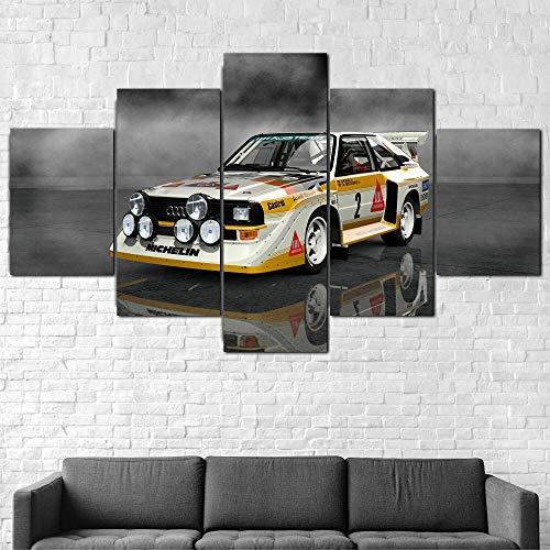 IMXBTQA Mit Rahmen Vlies Leinwanddrucke 5 Teilig Kunstdruck Leinwand Bild XXL Format Wandbilder Wohnzimmer Wohnung Deko 125X60Cm,AUD Quattro S1 Rallye-Auto Geschenk