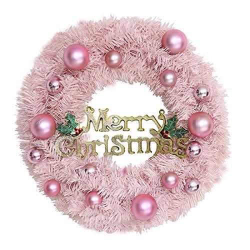NLRHH Girlande Weihnachten auf handgemachtem Kranz aus PVC festlich Tür hängen Ornamente Girlande Fensterstützen 30cm - Rosa DIY (Größe: 40 cm) Peng