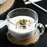 Zodensot - Tazza in vetro trasparente senza piombo, con farina d'avena, per colazione, caffè, isolamento termico, anti-scottature, per uso domestico