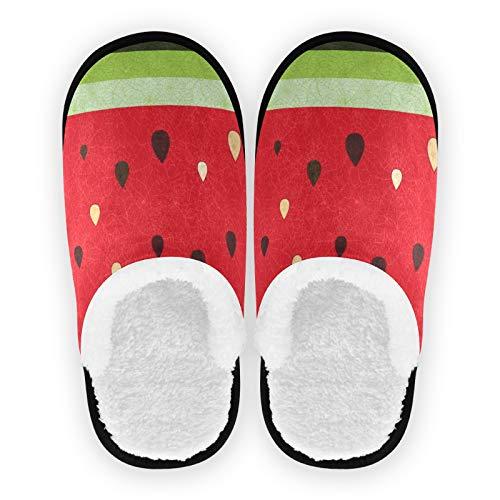 Mnsruu Hausschuhe mit Obst, Wassermelone, Saft, rutschfeste Baumwolle, Hausschuhe, für Zuhause, Hotel, Spa, Schlafzimmer, Reisen, L für Männer und Frauen