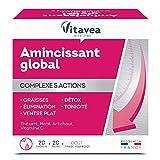 Vitavea - Aqualigne complément alimentaire minceur 5 actions - thé vert maté vitamine C artichaut pour bruler destocker drainer tonifier digérer - 20 sachets