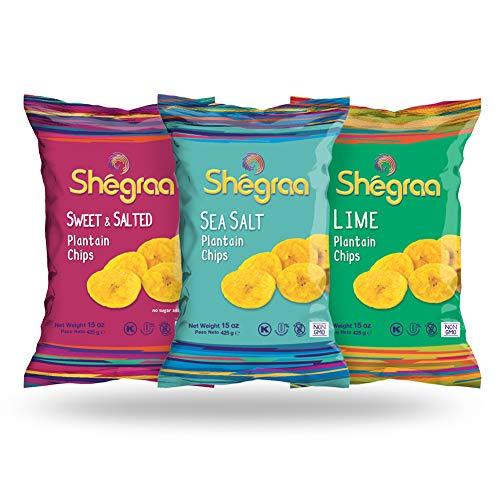 GLUTEN FREE - Roasted Plantain Chips - Mixed Pack of Shegraa Natural Snacks, Non-GMO, Kosher, Vegan - 15oz Pack of 3