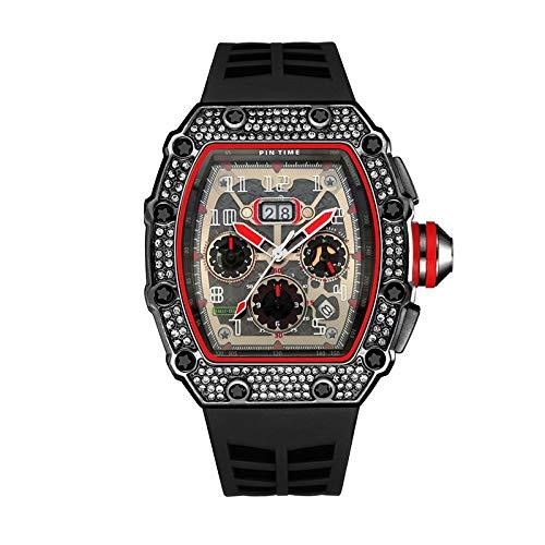 KJDS Cool Sport Watch - Hombres cronógrafo Hip Hop para hombre Wacthes - Top Lujo Militar Oro Reloj de Pulsera - Relogio Masculino (Negro)