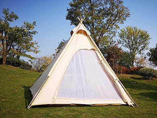 Latourreg Outdoor Camping 6.5FX6.5FT(2MX2M) Canvas Camping Pyramid Tent Large Adult Indian Tipi Tent Pagoda Teepee Tent