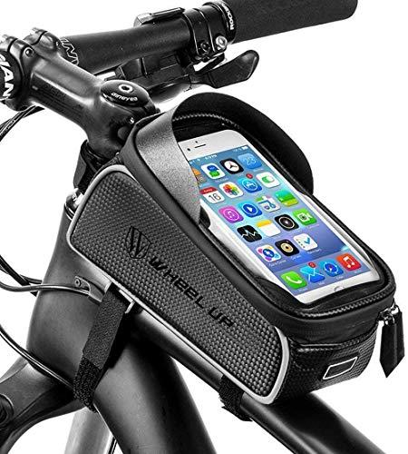 Hezhu - Funda impermeable para cuadro de bicicleta con pantalla táctil de TPU, orificio para auriculares para teléfono móvil de 6 pulgadas