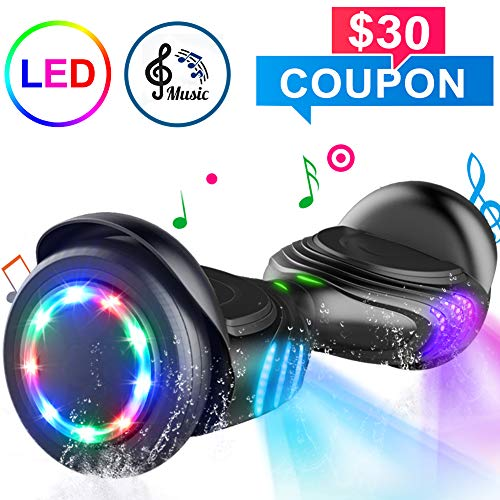 TOMOLOO Hoverboard with Speaker and Colorful LED Lights Self-Balancing Scooter UL2272 Certified 6.5' Wheel for Adults and Child