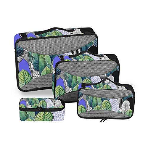 CPYang - Juego de 4 Cubos de Embalaje para Acuarela, diseño de Hojas de Palma, para Equipaje de Viaje, organizadores de Malla, Bolsa de Almacenamiento para Maleta