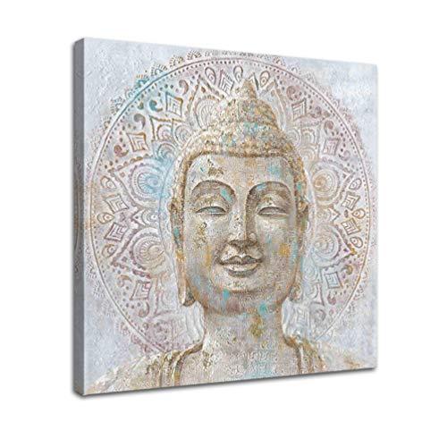 Harmonious Buddha Head Wall Art Religious Buddhism Theme Mural 1 Panel - 12'x12' Canvas Print Decorative Painting Quiet Kindness Zen Poster Decoration Home Wall Sticker