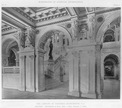 The Library of Congress,Washington,D.C,c1898,Interior,Architecture,hallway