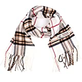 Plaid Cashmere Feel Classic Soft Luxurious Winter Scarf For Men Women (White)
