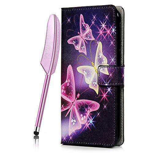Coque pour Samsung Galaxy J6 Plus / J6 Prime 2018, Etui PU+TPU Cuir Silicone Support Carte Portefeuille Coloré Magnétique Housse - Papillon Violet