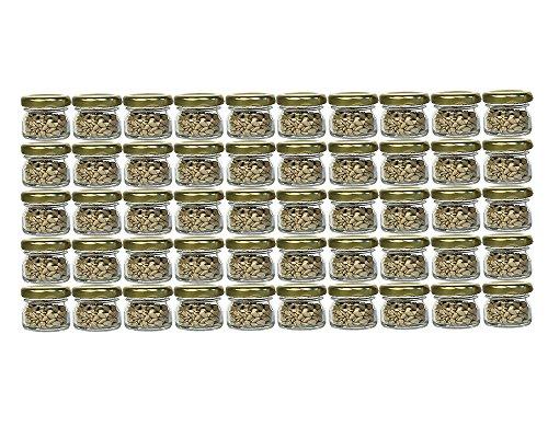 60er Set Sturzgläser Mini Gläser   Füllmenge 30 ml   Deckelfarbe Gold   To 43 Rundgläser Marmeladengläser Obstgläser Einweckgläser Honig Gläser Einmachgläser Probiergläser, Imker