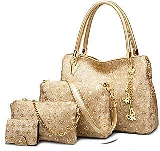 4pcs/Set Handbag Crossbody Bag women Fashion Bag (Golden)