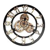 Gigicloud- Reloj de pared grande industrial europea, estilo vintage, con números grandes, reloj de metal no tictacante, para casa, salón, cocina, dormitorio y cueva dorada, 40 cm