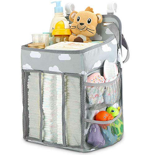 Hanging Diaper Caddy Organizer - Diaper Stacker for Changing Table, Crib, Playard or Wall | Nursery Organization & Baby Shower Gifts for Newborn