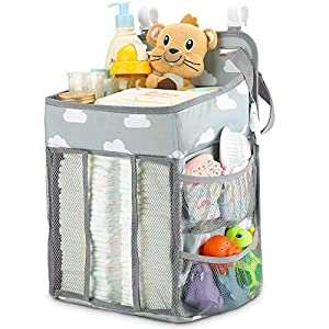 Hanging Diaper Caddy Organizer – Diaper Stacker for Changing Table, Crib, Playard or Wall & Nursery Organization Baby Shower Gifts for Newborn (Gray Cloud)