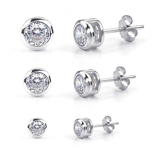 Konov - Pendientes para mujer de plata de ley 925, con circonita cúbica, 3 pares (6 piezas), pendientes de lóbulo, redondos, de 2-4 mm, plateados, con bolsita