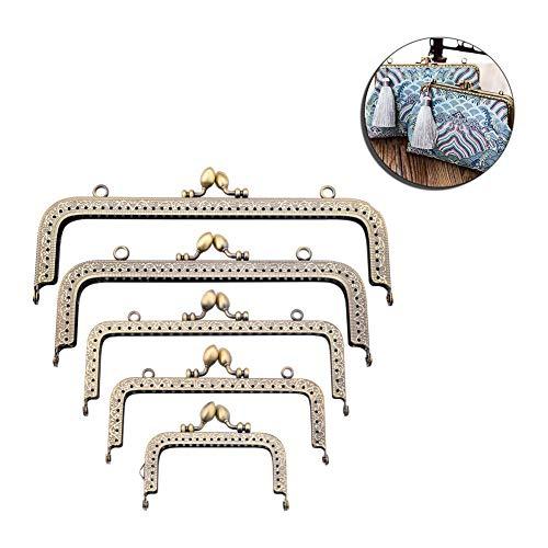 Supreme glory Taschenrahmen~Taschenbügel~Verschluss DIY für Handtaschen Geldbörse zum Einnähen mit Clipverschluss Set 5 Stück