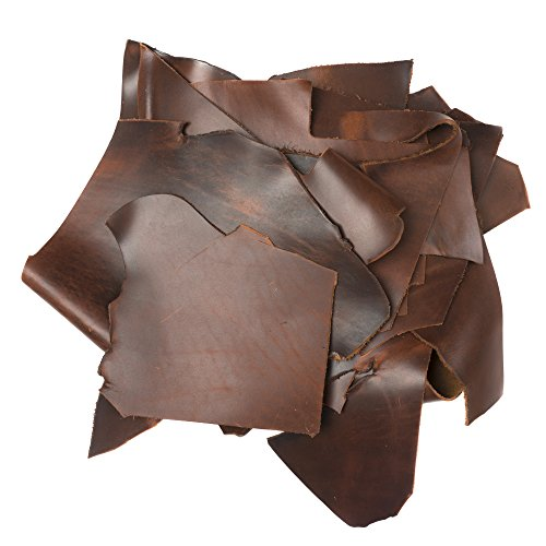Rustico 2lb Box of Saddle Colored Top Grain Leather Remnants and Leather Scraps in Form USA Raised Cows, 2 – 3 MM Thick (4.5-5.5 Ounces) Leather for Crafts