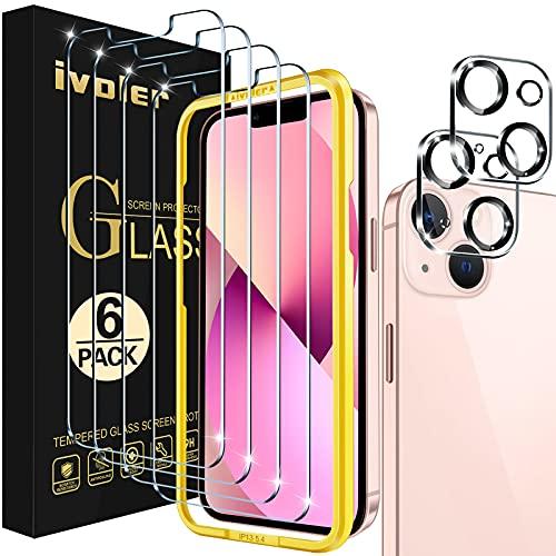 ivoler 4 Unidades Protector de Pantalla Compatible con iPhone 13 Mini 5.4 Pulgadas, con 2 Unidades Protector de Lente de Cámara y Marco de Instalación Fácil, Cristal Vidrio Templado Premium