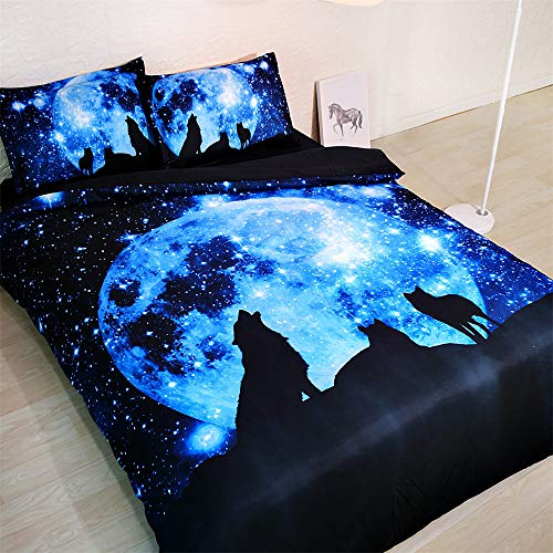 Bedding Set 100% Cotton 400 Thread Count Moon Blue and Wolf,Suitable for Children and Youth Duvet Cover 3 Pieces(1 Duvet Cover+2 Pillowcases 50x75cm) (135x200cm(Single Size))