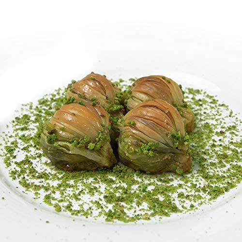 Pistazien Baklava/ direkt aus Gaziantep /traditionell türkisches Rezept/Beste Qualität/ Frisch/ Ohne Zusatzstoffe/kommt mit Tablett/1350 G/Spezielle Muschel