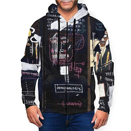 VirgieBSmith Jean Michel Basquiat Horn Players Zipper Shirt Men's Hoodie Sweatshirt Jacket Fashion Hoodies Sweater Medium Black
