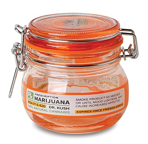 KEEP YOUR HERBS FRESH!!!!– SUPER HEAVY DUTY 5 Oz Glass Stash Jar with Air Tight Seal – Small (Prescription)
