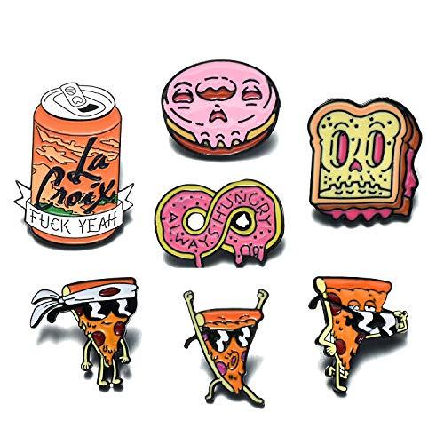 Creative Enamel Lapel Pin Set for Clothing Bags Backpacks, Novelty Food Enamel Pins Set, Funny Enamel Brooch Pin Badges for Women Girls Decor Clothes