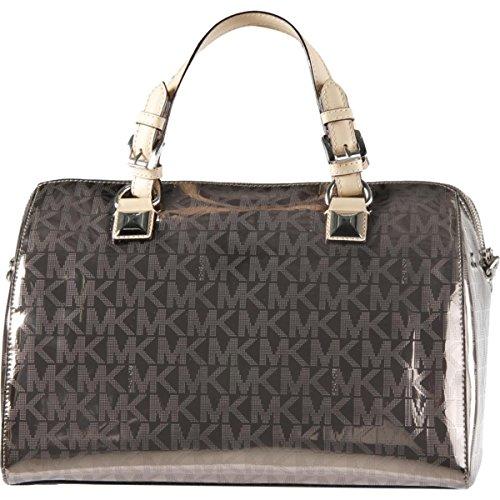 MICHAEL Michael Kors Womens Grayson Convertible Satchel Handbag Metallic Large