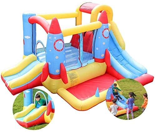 SGSG Castillo Inflable para niños, Cama de Salto con Cohete, Cama elástica para niños en Interiores y Exteriores, Juguetes para el Patio de Juegos para el hogar